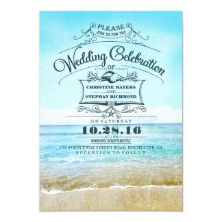 Bord de la mer bleu d'ombre de rétros de plage carton d'invitation  12,7 cm x 17,78 cm