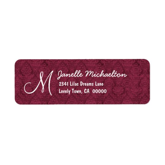 Bordeaux Damask Monogram M or Any Initial M009