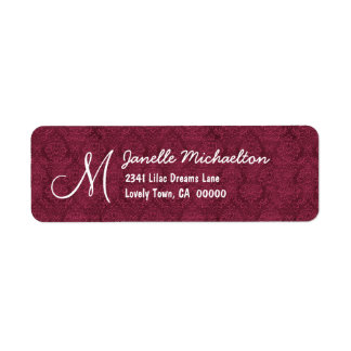 Bordeaux Damask Monogram M or Any Initial M009 Return Address Label