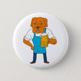 Bordeaux Dog Brewer Mug Mascot Cartoon 2 Inch Round Button