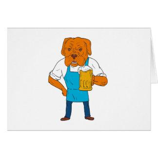 Bordeaux Dog Brewer Mug Mascot Cartoon Card