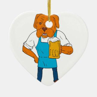 Bordeaux Dog Brewer Mug Mascot Cartoon Ceramic Heart Ornament