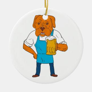 Bordeaux Dog Brewer Mug Mascot Cartoon Ceramic Ornament