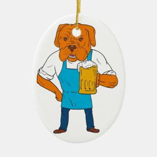 Bordeaux Dog Brewer Mug Mascot Cartoon Ceramic Oval Ornament