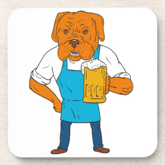 Bordeaux Dog Brewer Mug Mascot Cartoon Coaster