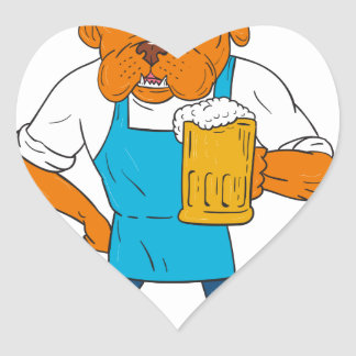 Bordeaux Dog Brewer Mug Mascot Cartoon Heart Sticker