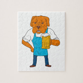 Bordeaux Dog Brewer Mug Mascot Cartoon Jigsaw Puzzle