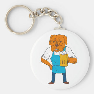 Bordeaux Dog Brewer Mug Mascot Cartoon Keychain