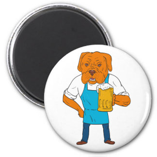 Bordeaux Dog Brewer Mug Mascot Cartoon Magnet