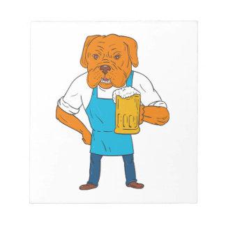 Bordeaux Dog Brewer Mug Mascot Cartoon Notepad