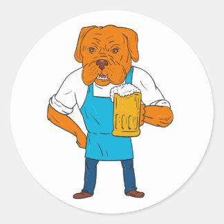 Bordeaux Dog Brewer Mug Mascot Cartoon Round Sticker