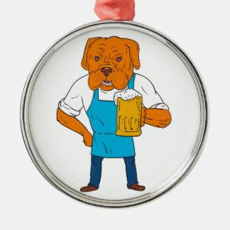 Bordeaux Dog Brewer Mug Mascot Cartoon Silver-Colored Round Ornament