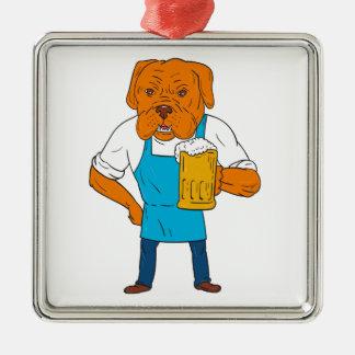 Bordeaux Dog Brewer Mug Mascot Cartoon Silver-Colored Square Ornament