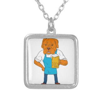 Bordeaux Dog Brewer Mug Mascot Cartoon Silver Plated Necklace