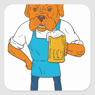 Bordeaux Dog Brewer Mug Mascot Cartoon Square Sticker