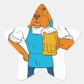 Bordeaux Dog Brewer Mug Mascot Cartoon Star Sticker