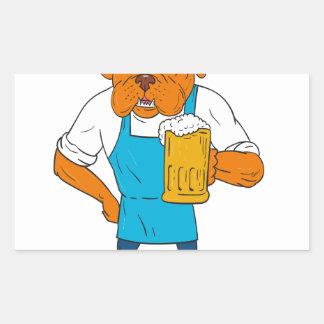 Bordeaux Dog Brewer Mug Mascot Cartoon Sticker