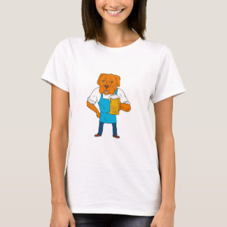 Bordeaux Dog Brewer Mug Mascot Cartoon T-Shirt