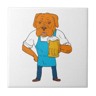 Bordeaux Dog Brewer Mug Mascot Cartoon Tile