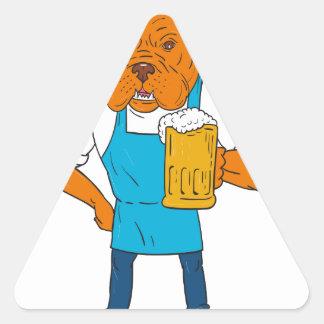 Bordeaux Dog Brewer Mug Mascot Cartoon Triangle Sticker
