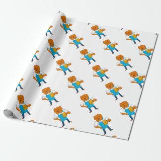 Bordeaux Dog Brewer Mug Mascot Cartoon Wrapping Paper
