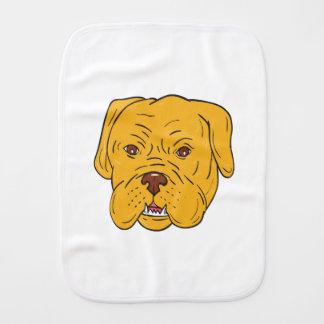 Bordeaux Dog Head Cartoon Baby Burp Cloths