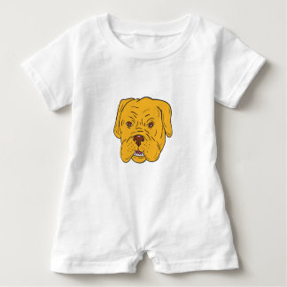 Bordeaux Dog Head Cartoon Baby Romper