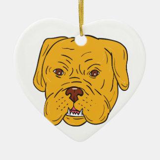 Bordeaux Dog Head Cartoon Ceramic Heart Ornament