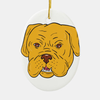 Bordeaux Dog Head Cartoon Ceramic Oval Ornament