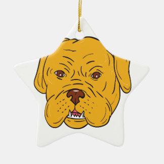 Bordeaux Dog Head Cartoon Ceramic Star Ornament