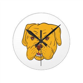 Bordeaux Dog Head Cartoon Clocks