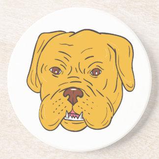 Bordeaux Dog Head Cartoon Coaster
