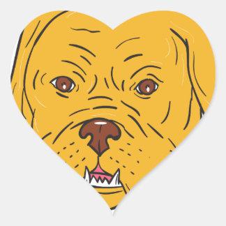 Bordeaux Dog Head Cartoon Heart Sticker