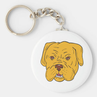 Bordeaux Dog Head Cartoon Keychain