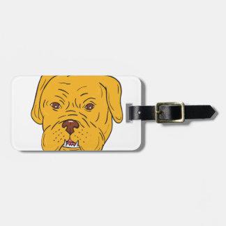 Bordeaux Dog Head Cartoon Luggage Tag