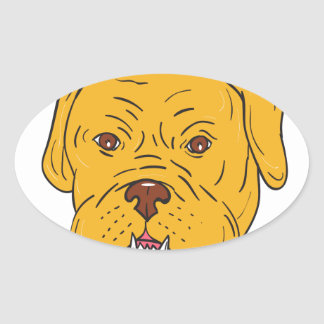Bordeaux Dog Head Cartoon Oval Sticker