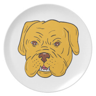 Bordeaux Dog Head Cartoon Party Plates
