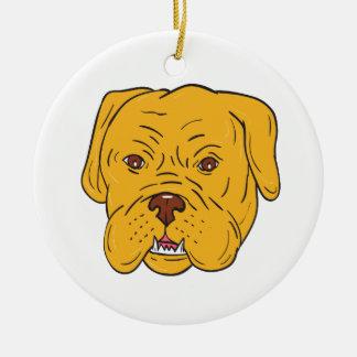 Bordeaux Dog Head Cartoon Round Ceramic Ornament