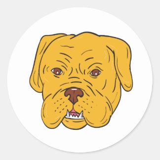 Bordeaux Dog Head Cartoon Round Sticker