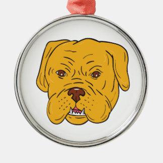 Bordeaux Dog Head Cartoon Silver-Colored Round Ornament