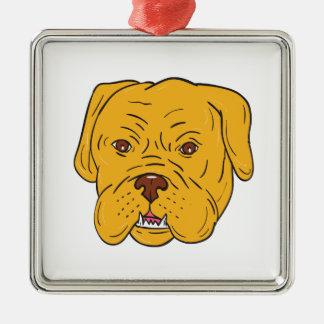 Bordeaux Dog Head Cartoon Silver-Colored Square Ornament