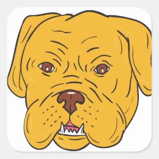 Bordeaux Dog Head Cartoon Square Sticker