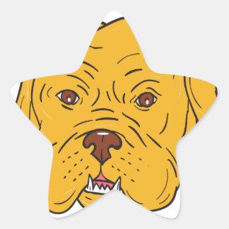 Bordeaux Dog Head Cartoon Star Sticker