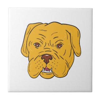 Bordeaux Dog Head Cartoon Tile