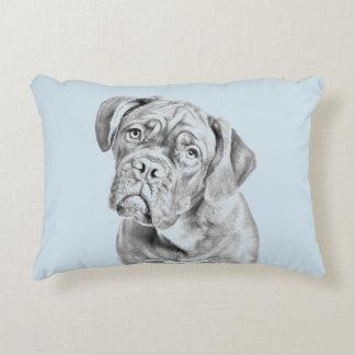Bordeaux dogue dog portrait on pastel blue color decorative pillow