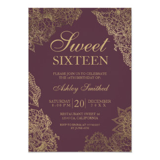 Bordeaux gold floral elegant Sweet sixteen Card