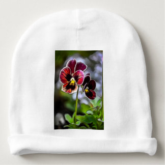 Bordeaux Pansy Flower Duo Baby Beanie