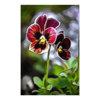 Bordeaux Pansy Flower Duo Custom Stationery