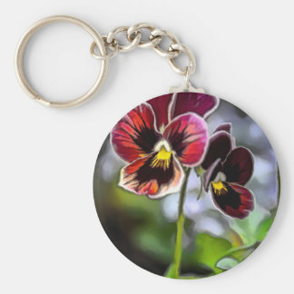 Bordeaux Pansy Flower Duo Keychain