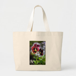 Bordeaux Pansy Flower Duo Large Tote Bag